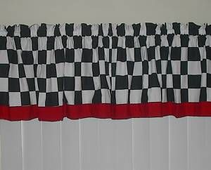 White Checkered w Red Trim Curtain Valance Fat Chef Kitchen New