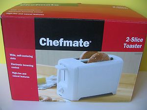 CHEFMATE 2 SLICE TOASTER WHITE EXTRA WIDE NEW