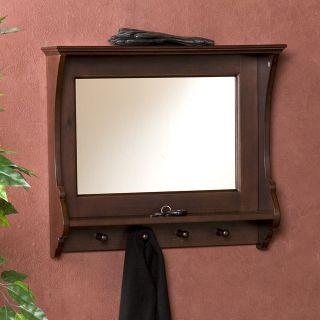 Entryway Wooden Wall Mirror Shelf And Coat Rack Black 35 New
