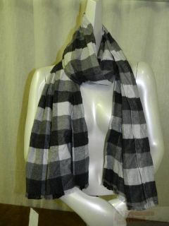 Chelsey II Cotton Scarf Black White Plaid Freyed Ends
