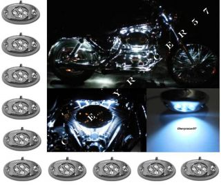 10pc White LED Chrome Modules Motorcycle Chopper Frame Neon Glow