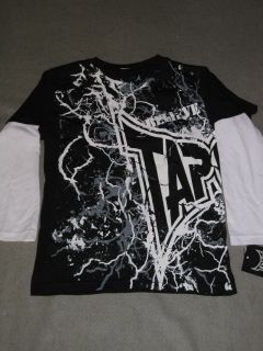 Lightning Boys 2fer Black White Tapout Shirt Tee MMA LS Longsleeve