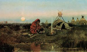 Charles Russell 1891 Painting Repo Evening Pipe Native American Art