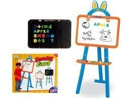 Two Sided Standing Easel 3 in 1 Magnetic Writing Board for Kids