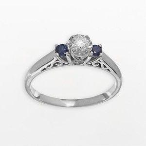 Cherish Always 14K White Gold 1/3 Ct. T.W. Diamond And Sapphire Ring