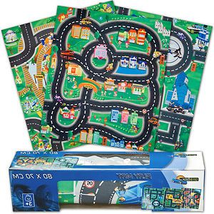 Kids Childrens Boys Playmat Mat Rug Car Road Non Slip Roll Up Xmas