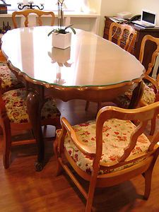 Antique Ebert Furniture Co Cherry Dining Room Table and 6 Chairs