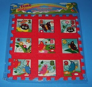 New Childrens Sun Time Kids Foam Play Mat Puzzle 9pc Numbers Gift