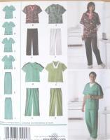 Misses Mens Teen Scrub Tops Pants Sewing Pattern 2769