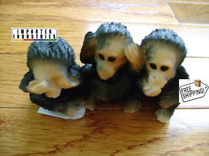 Halloween See Hear Speak No Evil Chimpanzees Heavy Figurine