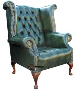 Chesterfield Buttoned Seat Queen High Back Fireside Wing Chair Green