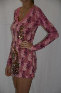 Christian Audigier Fleur de Lis Rose Monogram Dress M