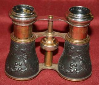 Anique 1890s Chevalier Paris Opera Glasses Binoculars Birds and