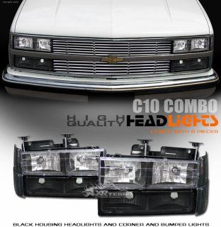 94 02 Chevy C10 C K 1500 2500 3500 Truck JDM Blk Headlights Bumper