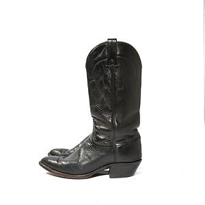 Mens J Chisholm Black Leather Western Cowboy Boots 9 1 2D