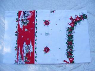 Vintage Linen Cotton Tablecloth Christmas Scene White Red Green Santa