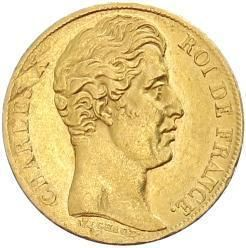 France 20 Francs KM 726 XF Gold Coin Charles x 1828