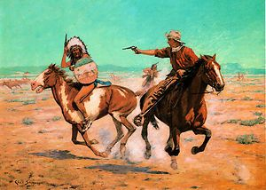 1907 Charles Schreyvogel Attack on The Herd Cowboy Indian Shootout