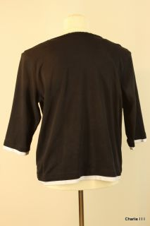 Alfred Dunner Sz 2X Black Cotton Blend Tunic Blouse Womens Clothing