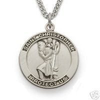 Large Mens 925 Silver Saint Christopher Medal Necklace