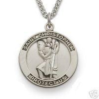 Large Mens 925 Silver Saint Christopher Medal Necklace