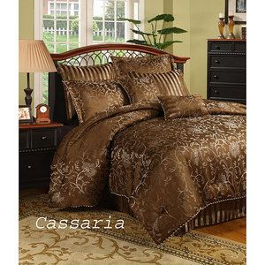 Rich Elegant Chocolate Brown Comforter Set 8 PC Floral Cal King Full