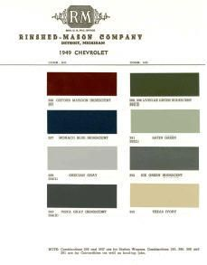 1949 Chevy Paint Color Sample Chips Card Colors