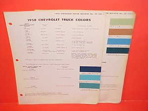 1958 Chevrolet Truck Paint Chips Color Chart Brochure