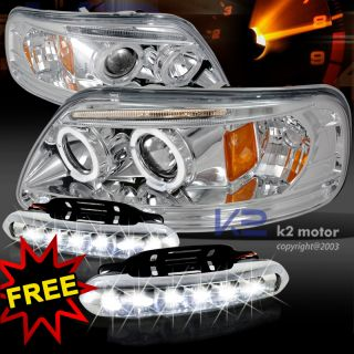 97 03 Ford F150 Chrome Halo Rim Projector Headlights LED DRL Driving