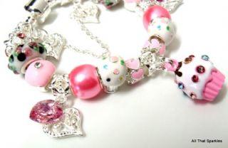 Pink Cupcake Swarovski Heart Child Girls Charm Bracelet