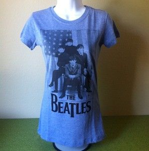 The Beatles with American Flag Blue Heather Juniors T Shirt Super Cute