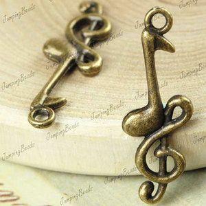 50 Vintage Antique Brass Note Music Charms pendant JBTS254 4 FAST SHIP