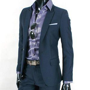 Men Slim Fit 1 BTN Peak Suit SU114 Blue Gray Sz Choice