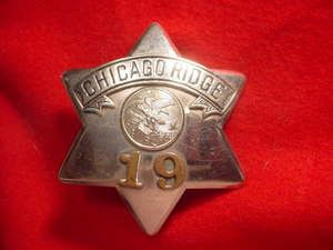 OBSOLETE POLICE BADGE CHICAGO RIDGE PIE PLATE MEYER WENTHE L K