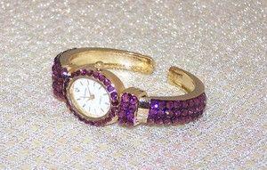 Purple Rhinestone Swarovski Crystal Bracelet Watch