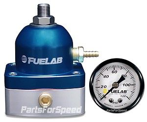 Fuelab 52501 3 Fuel Pressure Regulator with Gauge  6AN Blue FPR Inline