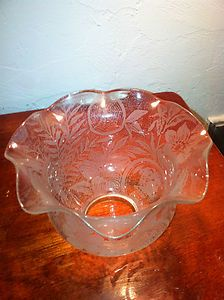 Antique Gas Oil Kero Lamp Shade Etched Glass Spider Web Cameo