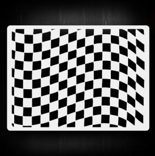 Waving Checkers 2 Airbrush Stencil Template Airsick