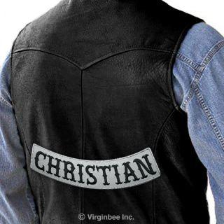 CHRISTIAN REFLECTIVE EMBROIDERED PATCH BIKER JACKET RIDER VEST LOWER
