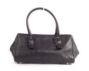 Christian Dior Black Calf Grained Leather Lady Dior Small Tote Bag
