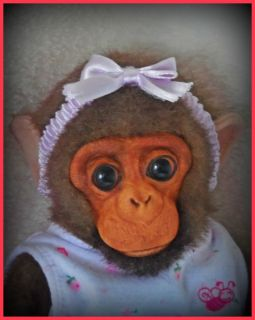 Reborn Newborn Chimpanzee Monkey Chimp OOAK Doll with Baby Bed