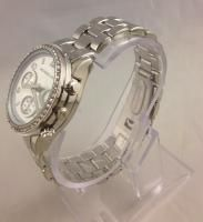 Womens Boyfriend Watch Silver Tone with Crystal Bezel