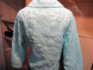 Vtg 50s Lord Taylor Tea House Oriental Quilted Powder Blue Bedjacket
