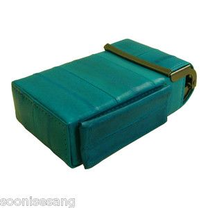 Eel Skin Leather Sliding Cigarette Case Wallet Teal