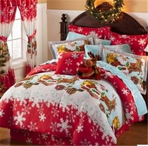 Red Christmas Santa Claus Reindeer Snowy Holiday Gifts Queen Comforter