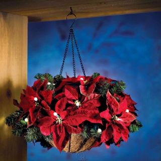 Cordless Hanging Holiday Poinsettia Basket Christmas Decor Garland 25
