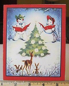 Vintage Christmas Card Snowmen Sing Deer Squirrel Watch Rabbit Sings