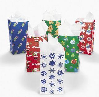 24 Holiday Christmas Gift Bags Santa Gingerbread Ornaments Snowflake