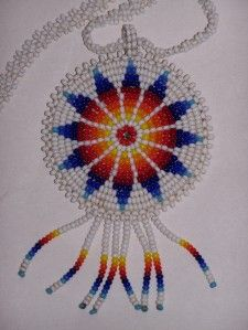 Vintage Cherokee Indian Native American Beaded Medallion Necklace