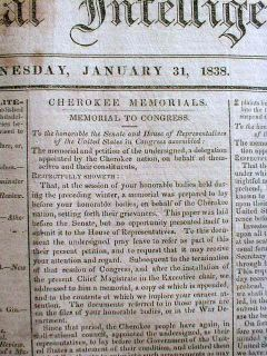Best 1838 Newspaper Trail of Tears Cherokee Indian Response Signed by